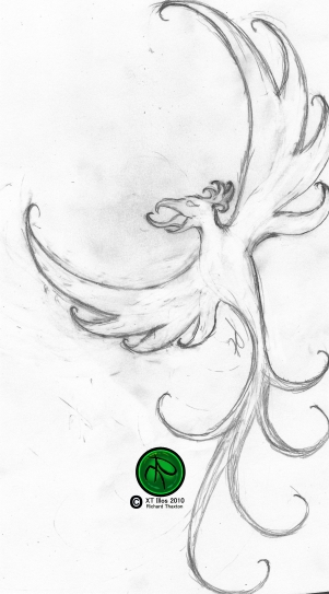 "Phoenix Tattoo Design 2010 Pencil on Paper 4""x5"" #Phoenix #Mythology # FantasyArt #Illustration #PencilDrawing #Sketch."